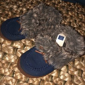 Janie and Jack fur & suede moccasins blue unisex 8